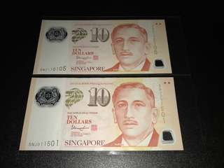 Portrait Series S$10 with Nice No. 110 105 & 011 501