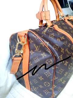 Preloved LV. Mirror Ori 1:1 Louis Vuitton Monogram Keepall 45. Warna kulit sdh matang spt Ori