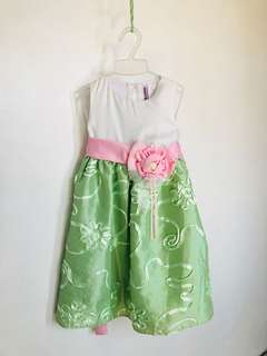 White and Green Flower Dress with Pink Belt