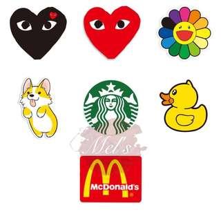 Small Luggage Stickers • Comme Des Garçons CDG Play Murakami Sunflower Corgi Starbucks Mermaid Yellow Duck MCD McDonald's