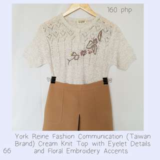 York Reine Fashion Communication (Taiwan Brand) Cream Knit Top with Eyelet Details and Floral Embroidery Accents