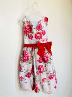 Floral Dress with Red Ribbon