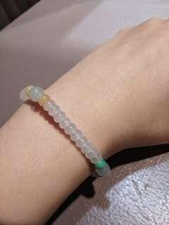 🚚 緬甸天然A 貨玻璃種算盤玉珠翡翠手鍊