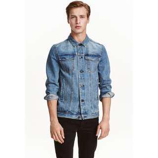 L號 H&M 瑞典國際時裝 自然淺色水洗 經典工裝 牛仔外套 牛仔夾克 二手 品牌