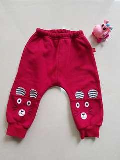 🚚 兒童紅色小熊內絨毛長褲