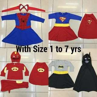 Superhero Girls Costume 1 to 7 yrs old