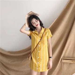 Yellow Stripes Button Down Dress
