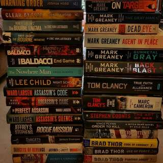 Clearing Whole Box Of Fictional Action Books Eg. Tom Clancy