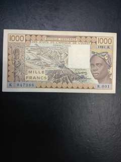 French West Africa 1000 francs prefix k Senegal