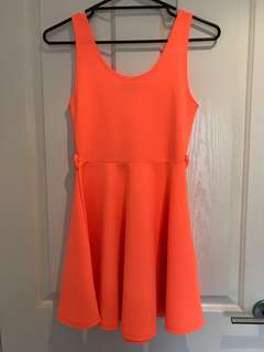 Neon Orange Skater Dress