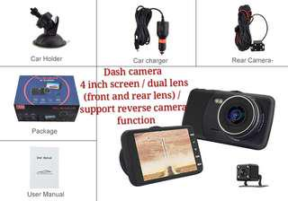 Brand new Car dash camera dual lens, reversing camera function
