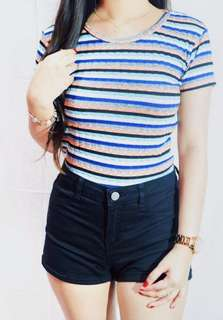 Retro Stripes Ribbed Crop Top
