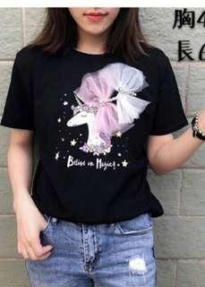 🚚 【現貨】🇰🇷韓國🇰🇷天馬珍珠造型棉T-黑