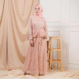LUNA DRESS by HAMIDAH (Pink Peach)