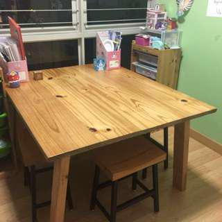 Solid Pine Wood Big Study/Acticity Table (Without Stools)