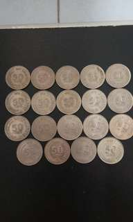 Singapore Old Coin 50sen (1967-1985)19pcs