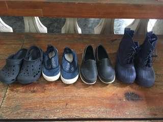 Bundle of 4 unisex shoes Native slip ons C13, Native boots C13, Walnut Melbourne laceless sneakers 32, crocs C12-13