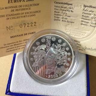 2003 Europa 11/2 Euro proof coin.