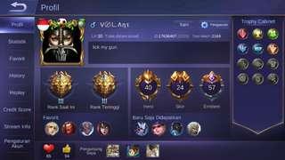 jual akun ML legend 3 emblem GG murah