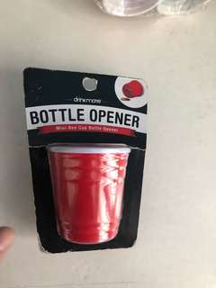 Red cup bottle oppener