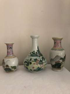 Lot Of Three Porcelain vases-good condition