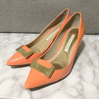 DVF Patent Leather Coral Peach Pointy High Heel Pumps