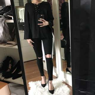 BNWT Zalora Lace Up Shirt