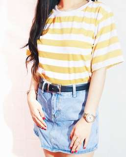 Stripes Oversized Tee in Yellow/White