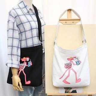 🚚 粉紅豹情侶單肩斜跨手提帆布包