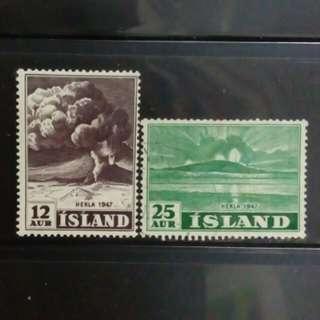 [lapyip1230 精細雕刻版] 冰島共和國 1947年 火山 舊票 VFU