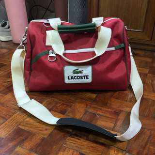 Lacoste red duffle bag