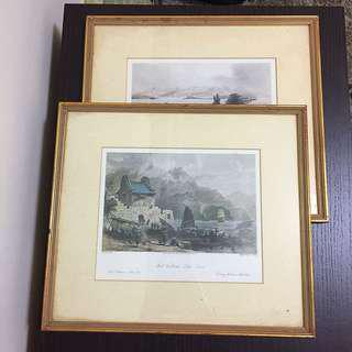 Framed pictures - Harbour of Hong Kong and Fort Victoria, Kowloon
