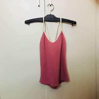 Old Rose Pink Crisscross Sleeveless top