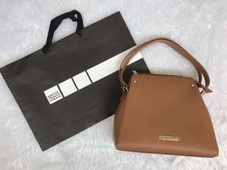 MARITHE FRANCOIS GIRBAUD - BROWN LEATHER BAG with sling - Php2,800 (Mall Price Php3,500)