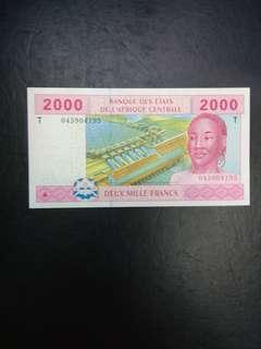 Central africa 2000 francs prefix t congo
