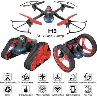 Dreamyth H3 航拍機2.4G 6-Axis Wifi FPV Drone 0.3MP Camera land-air-jump 3 Mode Assemble Deformation