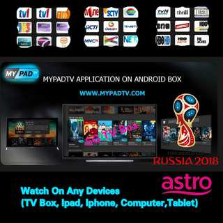 🚚 mypadTV ( World Cup Live 2018 On The Go) Premium Subscription for Android Box/ ipad / iphone / computer / laptop ( IPTV / ASTRO / Malaysia Channels / TV3 / Malay / TVB )