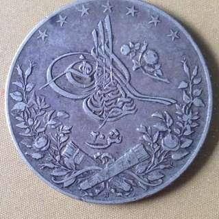 1906 Egypt 20 Qirsh coin.