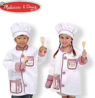 🚚 Melissa & Doug Chef Role Play Costume Set Ages 3-6 Years