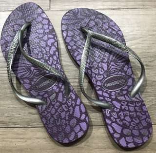 purple and silver Havaianas slim Womens  size 37/38 Brazil