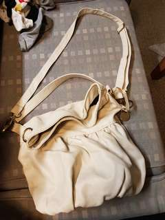 Cream Leather Bucket Bag