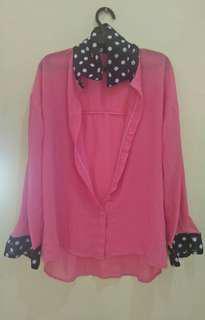 Peach Long-sleeved polo shirt