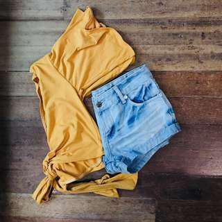 Sexy Overlop/ Front Twist/ Wrap Around Top Vintage Yellow