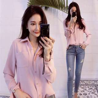 Pink Chiffon Korean Blouse