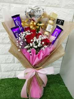 Flower and chocolates bouquet