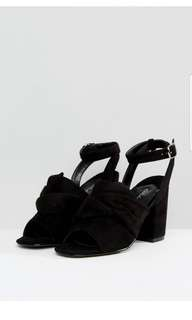 Asos Black Suede sandals with bow