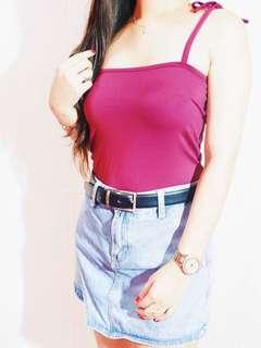 Self Tie Crop Top in Maroon Violet