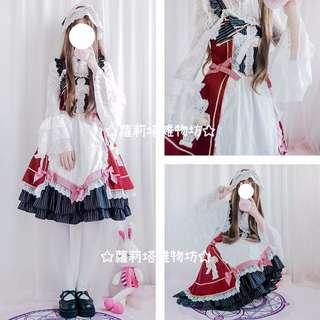【蘿莉塔雜物坊】夏日系lolita洋裝十字架蕾絲條紋蝴蝶結連神裙BABY藥箱JSK日常復古
