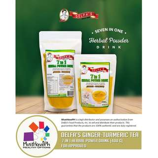 Delfa's Turmeric-Ginger Tea 7 in 1 Herbal Powder Drink (400 grams)