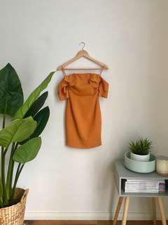 Off-shoulder Mustard Dress
